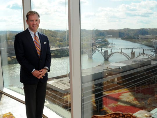 Attorney Jeff Hagood poses in his office at the Hagood, Tarpy & Cox law firm on the 21st floor of the Riverview Tower downtown Saturday, Oct. 29, 2011. (NEWS SENTINEL PHOTO)