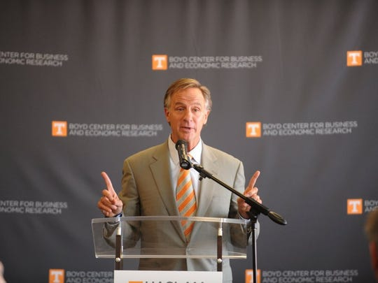 Governor Bill Haslam speaks at the dedication ceremony of the Boyd Center for Business and Economic Research at the Haslam College of Business on Friday, April 15, 2016.(CAITIE MCMEKIN/NEWS SENTINEL)