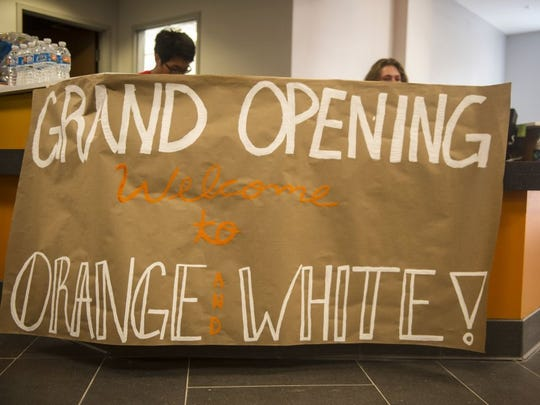 A sign welcomes students in the lobby of the new residence hall White Hall at University of Tennessee on Friday, Aug. 12, 2016. (CAITIE MCMEKIN/NEWS SENTINEL)
