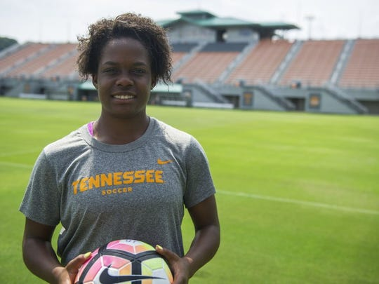 CAITIE MCMEKIN/NEWS SENTINEL Tennessee redshirt freshman forward Maya Neal poses for a photo on Wednesday at Regal Soccer Stadium.