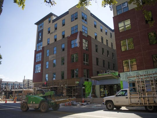 Construction continues on the new student apartment building, The Standard, on the corner of Cumberland Avenue and 17th Street on Wednesday Sept. 21, 2016. The apartments were scheduled to be completed on August 12, but students are still unable to move in.