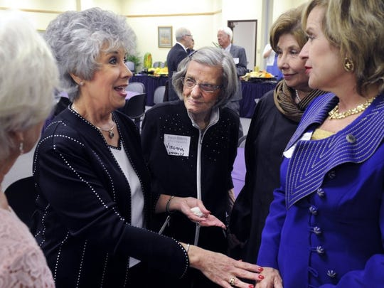 Then-Hardin-Simmons University first lady Carol Hall speaks with state Rep. Susan King while Dr. Virginia Connally (center), Kathy Waters and others listen. The occasion was a reception for Carol and Lanny Hall, HSU's outgoing president, in May 2016.