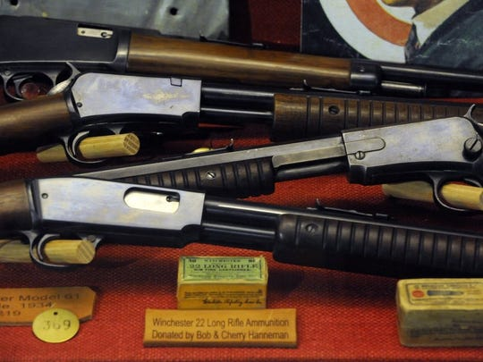 Ronald W. Erdrich/Reporter-News Winchester rifles are displayed at the Fort Chadbourne Visitor Center. More than 300 firearms, along with sabers, medical kits and other artifacts are in the museum.