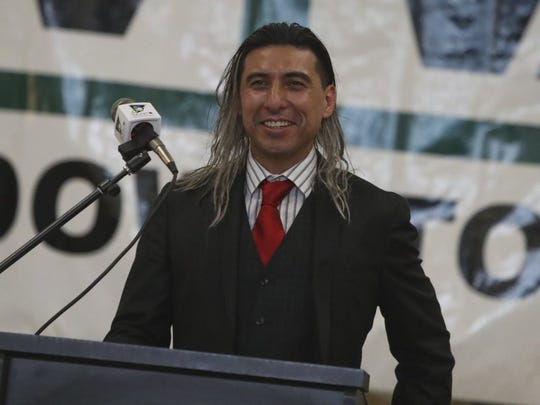Armando Mejorado speaks after he was honored as Businessperson of the Year at the 2016 State of the Downtown. (Greg Barnette/Record Searchlight)