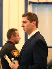 Ray Tensing, former University of Cincinnati police officer, walks into the courtroom Thursday.