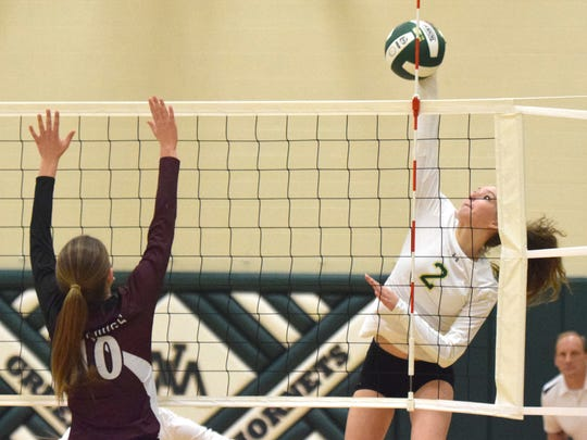 Wilson Memorial's Cassidy Davis spikes the ball past Luray's Brynlee Burrill during the first set of their VHSL Region 2B volleyball tournament final on Wednesday, Nov. 8, 2017, at Wilson Memorial High School in Fishersville, Va.