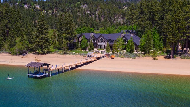 The 18,000-square-foot home at 550 Sierra Sunset Lane, in Zephyr Cove, Nev., on Lake Tahoe's East Shore, sits on 24 acres and sports a nearly 400-foot private beach. The home is for sale for $46.995 million. Lexi Cerretti of Sierra Sotheby's International Realty has the listing, the second most expensive at Tahoe as of May 2018.