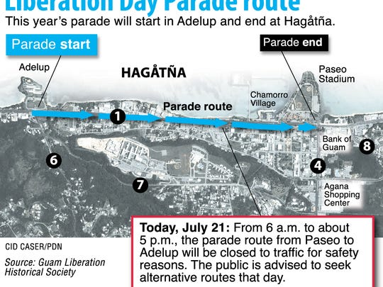 Liberation Day Parade route map