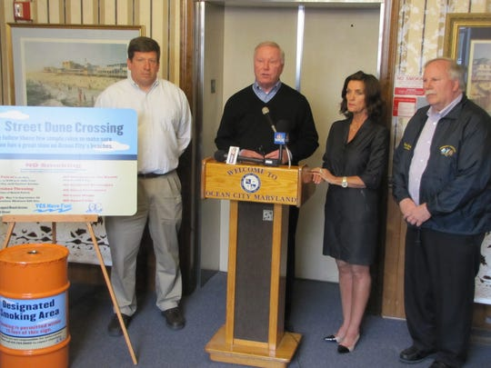 Ocean City officials kicked off the beginning of smoking restrictions on the resort town's beach and Boardwalk on Friday, May 1.