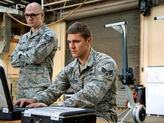 In a Nov. 3, 2016 photo, Kirtland's 377th Explosive Ordinance Disposal unit members Airman Josh Patterson, right, and Tech. Sgt. William Crisp, practice using an X-Ray Toolkit, EOD software used to analyze suspicious packages at Kirtland Air Force Base in Albuquerque.