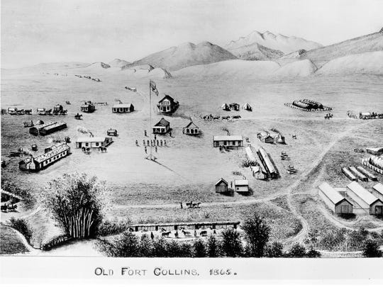 Artist M.D. Houghton completed this drawing in 1899 of how Fort Collins would've looked in 1865.