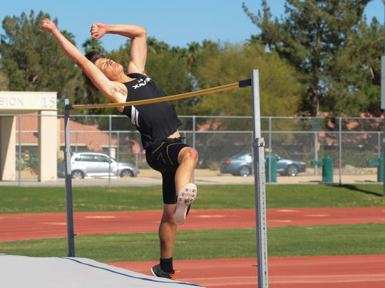 Tommy Branconier competes in the Desert Valley League field event finals at Palm Desert High School, Monday, May 1, 2017.