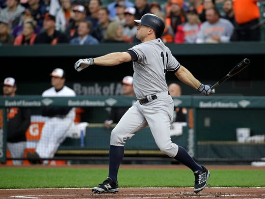 New York Yankees' Brett Gardner watches his solo home run in the first inning of a baseball game against the Baltimore Orioles in Baltimore, Tuesday, May 30, 2017.