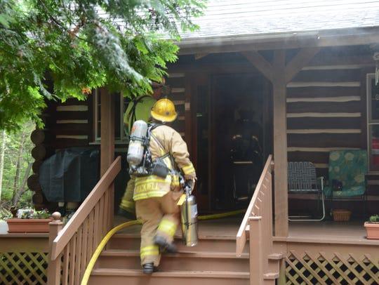 A firefighter on the scene of Thursday, July 13, 2017,