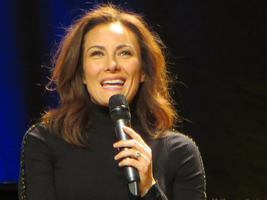 """Laura Benanti chats with Patrick Hinds during """"Theater"""