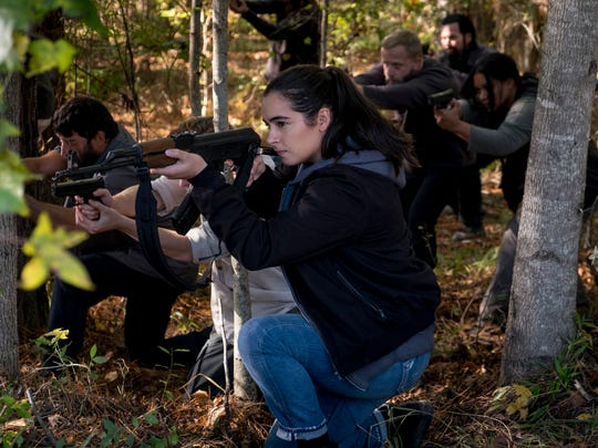 "Tara (Alanna Masterson, center) in ""The Walking Dead."""