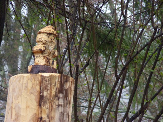 A gnome carved into a stump near Columbia Trail in