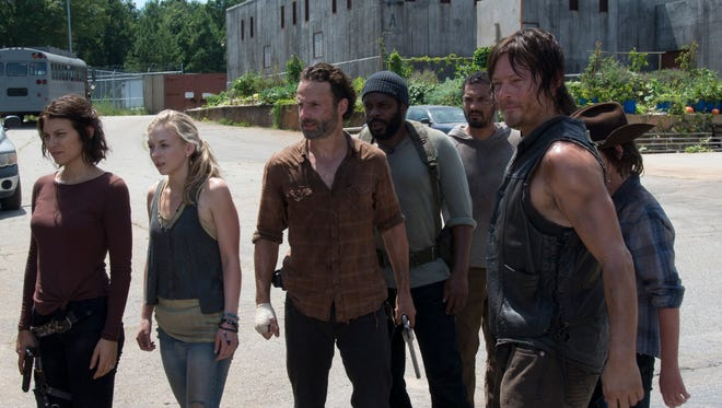 AMC's 'The Walking Dead' has slain all its cable and broadcast competition, claiming 18 million viewers despite its short 8-season run. (From left: Lauren Cohan, Emily Kinney, Andrew Lincoln, Chad Coleman, Norman Reedus and Chandler Riggs)