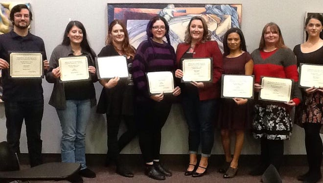 The 2014 Walter F. Spara Writing Competition Winners (left to right) are Matthew Daniel, Brooke Tanswell, Jenni Carpenter, Mary Whitham, Laura McBay, Roxana Resendiz-Garcia, Taylor Young, and Nikol Garner. Not pictured: Benjamin Lowrimore.
