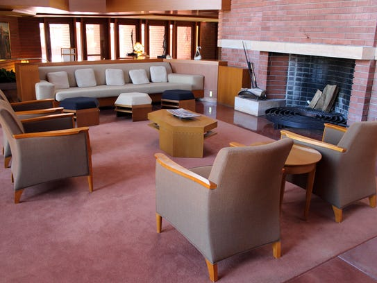 In Wingspread are eight fireplaces, some unusual in