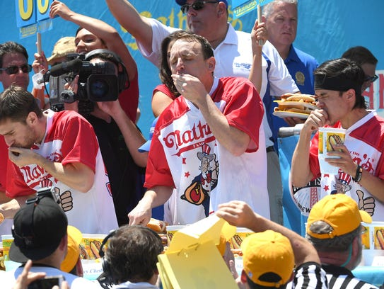 Nathan's July 4th Hot Dog eating contest July 4, 2017 at Coney Island. Participants can compete Saturday in Southwest Florida for a seat in the nationally televised competition this summer.