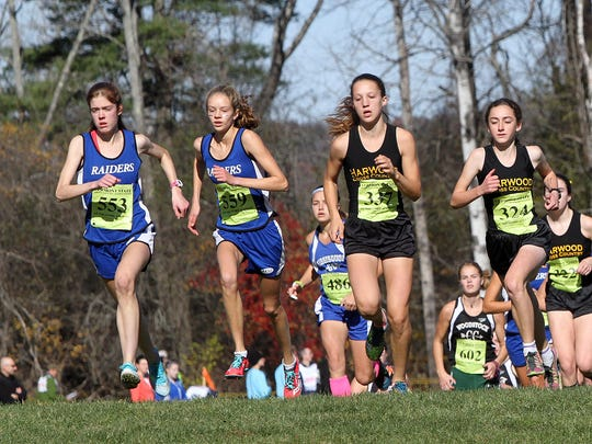 Union 32's Kaylyn Crompton, left, and Rena Schwartz, right, are trailed by the pack, including a slew of Harwood runners, at the start of the Division II girls cross country state championship race Saturday at Thetford Academy.