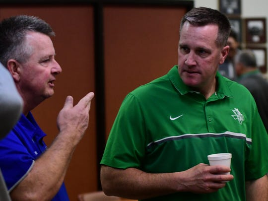 Breckenridge's Casey Hubble, right, accepted the positions of head football coach and athletic director at Canton.