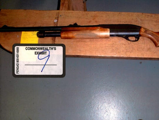 An image of a shotgun, which was used as an exhibit in the case against John P. Wolfe, is seen here. Game wardens said Wolfe illegally possessed a gun while hunting in December 2014.