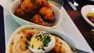 Hummus, fried cauliflower and smoked eggplant starter at MishMish in Montclair