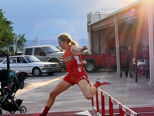 Corona High Aubrey Brandenberger qualifies for state in the 300 meter hurdles.