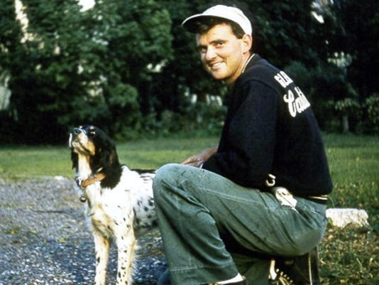 Arthur 'Art' Kennell photographed in the late 1950s with his English Setter, Duke. Kennell was the long-time caretaker of Evergreen Cemetery in Gettysburg from 1976 til he retired in 1990.