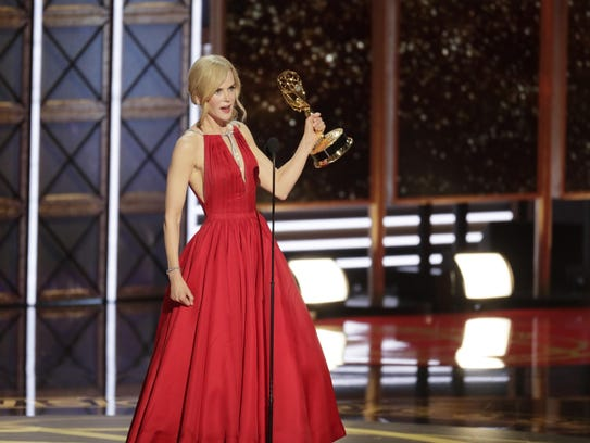 Nicole Kidman with the Emmy for Outstanding Lead Actress