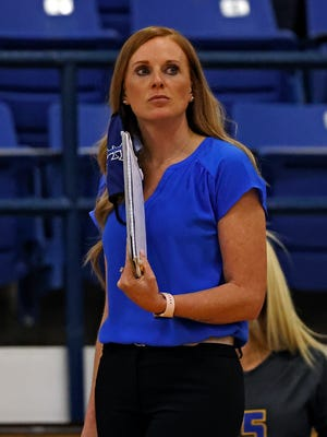 Frenship coach Randi Trew watches her team on the court during the game against Odessa Permian, Tuesday, Oct. 6, 2020, at the Tiger Pit in Wolfforth, Texas.