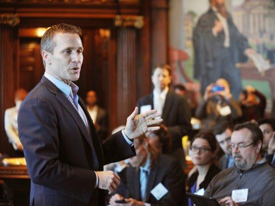 Gov. Eric Greitens addresses members of the media during
