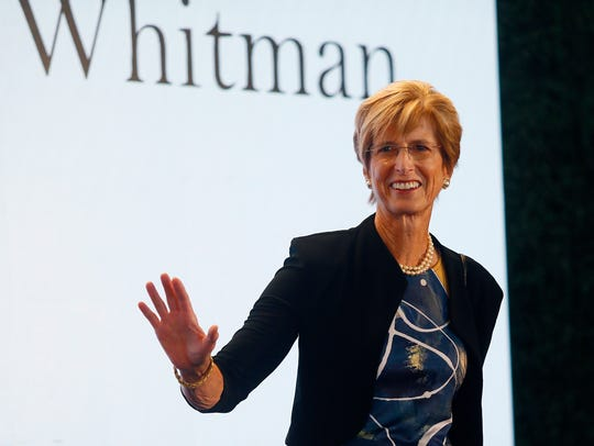 Former New Jersey Governor Christie Whitman walks the