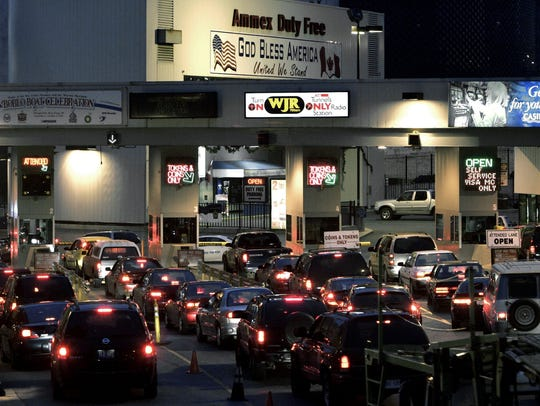 Motorists line up at the Detroit-Windsor Tunnel in