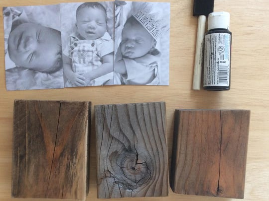 Turn wood blocks into photo blocks with Mod-Poge and Dad's favorite photos.