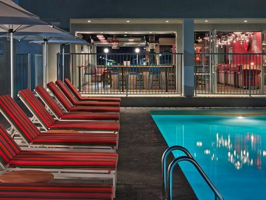 The pool area at the Graduate Tempe hotel.