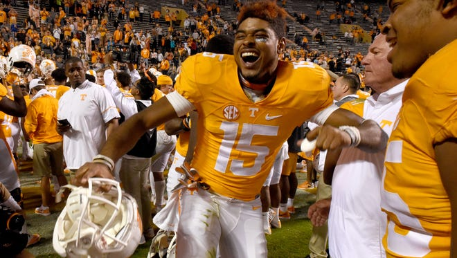 Tennessee wide receiver Jauan Jennings dances on the field following the Vols' 55-0 victory over Tennessee Tech on Nov. 5, 2016,  at Neyland Stadium.
