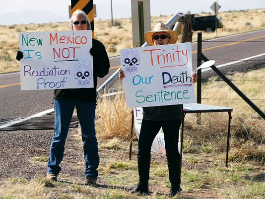 Laura Greenwood, left, and Marie Apodaca De la Rosa, who was born in Carrizozo on July 15, 1945, the day before the first atomic explosion. Tularosa Basin Downwinders Greenwood and De la Rosa protested outside the Stallion Gate entrance to the Trinity Site.