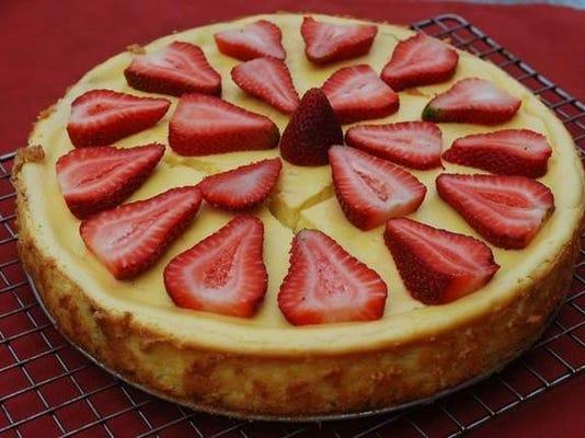 Strawberry rhubarb goat cheese cheesecake.jpg