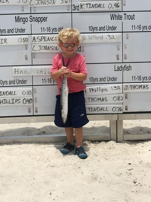 Local angler Hayden Phillips with a Spanish mackerel he caught this summer during the Pensacola Fishing Rodeo.