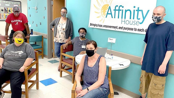 Jen, Kristy, Michael, Wayne, Kendra and Marcus at Affinity House.