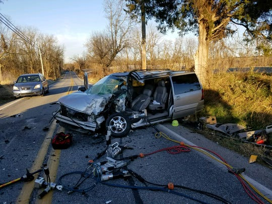 A bus crashed into a minivan in Davidsburg Road in Dover Township Tuesday morning. No students were injured in the crash, but the 60-year-old driver of the minivan was transported to the hospital.