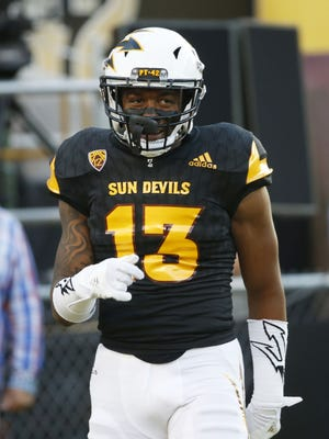 ASU defensive back Armand Perry (13) warms up before playing against Texas Tech at Sun Devil Stadium in Tempe, Ariz. September 10, 2016.