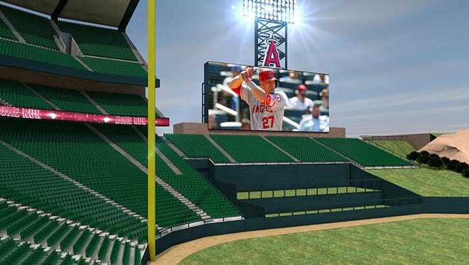Brookings-based Daktronics is building a massive set of video boards for the Los Angeles Angels ballpark, shown in this provided rendering. This left field display will total 5,488 square feet alone.