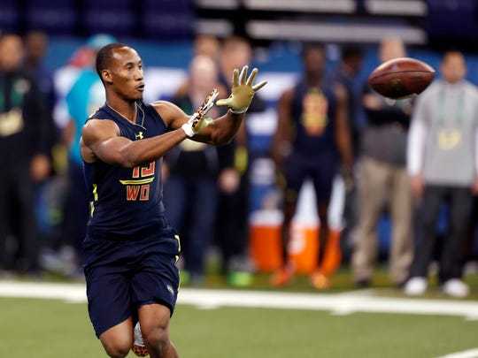 Florida State Seminoles wide receiver Travis Rudolph catches a pass during the 2017 NFL Combine at Lucas Oil Stadium.