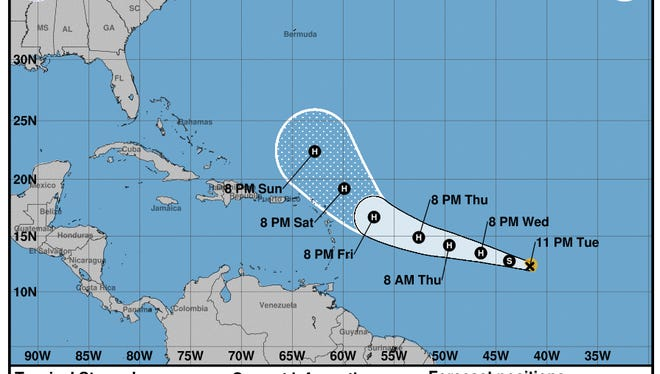 Projected path of Tropical Storm Jose as of 11 p.m. Tuesday, Sept. 5, 2017.