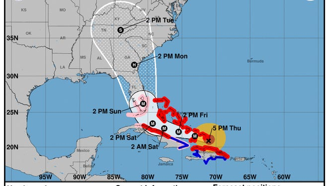 Projected path of Hurricane Irma as of 5 p.m. Thursday, Sept. 7, 2017.