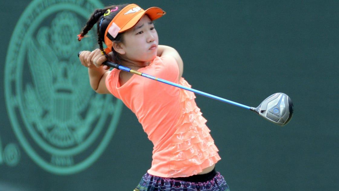 Tiny pre teen golfer big attraction at u s women 39 s open for Deko fa r teenager